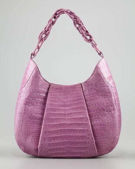 Crocodile Chain Hobo Bag, Lilac