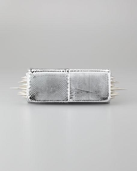 Marquise Metallic Python Clutch Bag, Silver