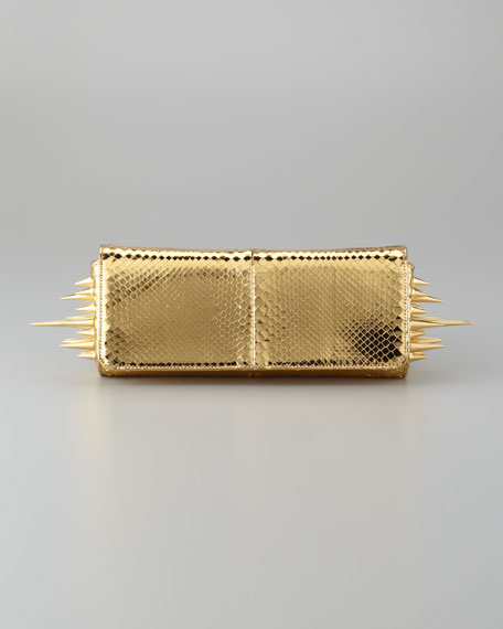 Marquise Metallic Python Clutch Bag, Gold