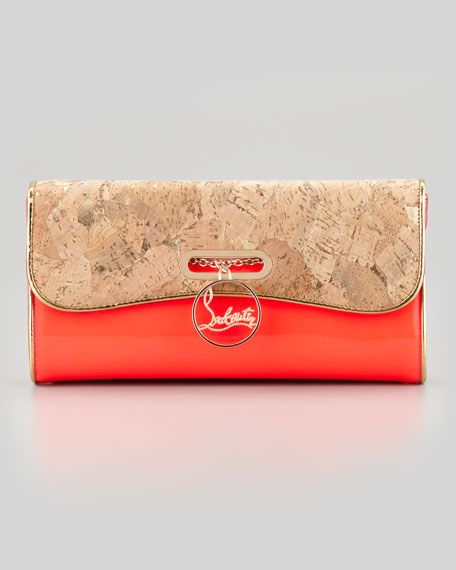 Patent Leather & Cork Riviera Clutch Bag