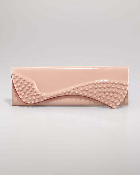 Pigalle Patent Spike Clutch Bag, Nude
