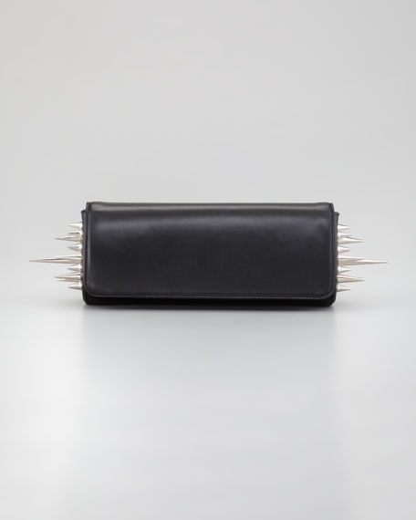Spiked Marquise Clutch Bag, Black