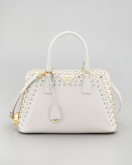 Crystal-Studded Saffiano Promenade Bag