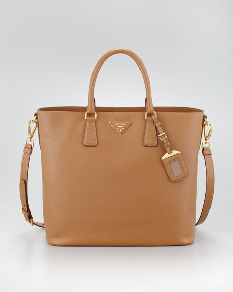 Saffiano Snap-Top Tote Bag, Caramel