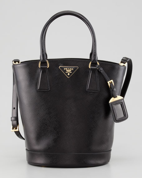 Saffiano Vernice Bucket Bag, Nero