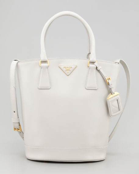 Saffiano Vernice Bucket Bag, Talco