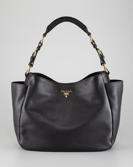 Daino Double Pocket Tote Bag, Nero