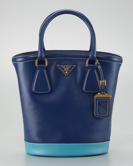 Saffiano Bicolor Bucket Bag, Bluette/Turchese