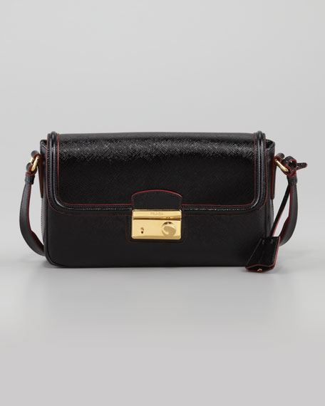 Saffiano Vernice Small  Shoulder Bag, Nero