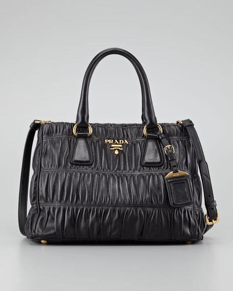 Napa Gaufre Small Satchel Bag, Nero
