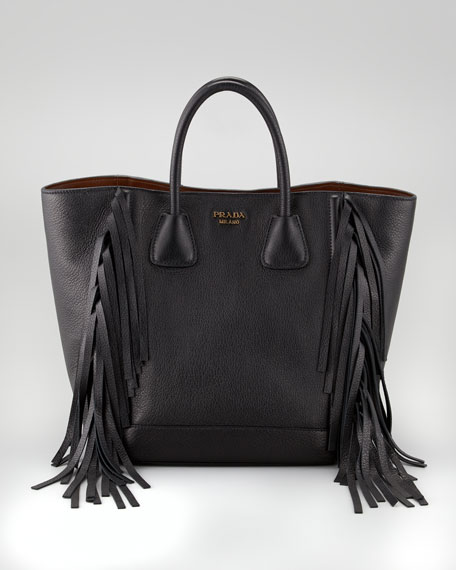 Cervo Fringe Tote Bag, Black
