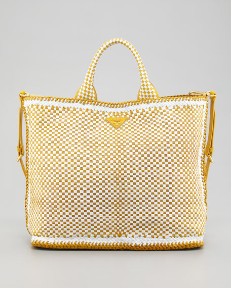 Madras Tote Bag, Bianco/Yellow