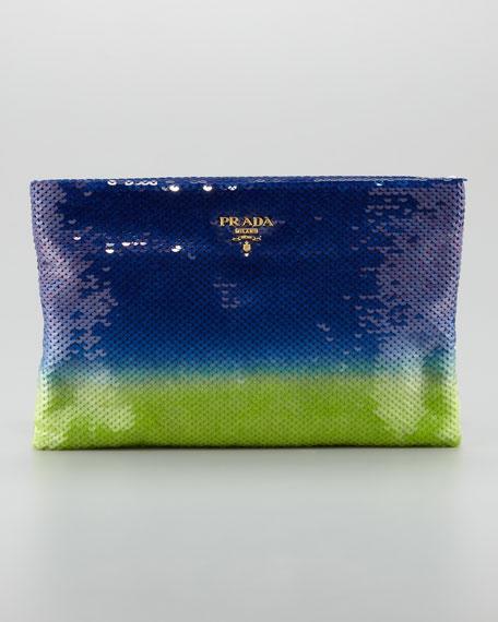 Degrade Sequin Pouch Clutch Bag, Baltico