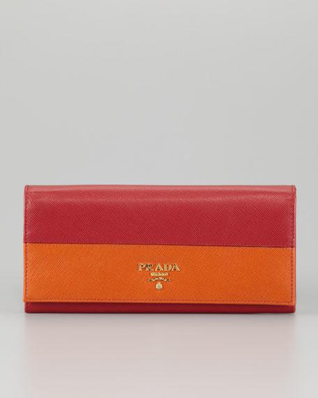 Saffiano Bicolor Wallet, Fuoco/Papaya
