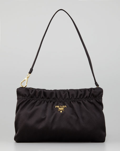 Ruched Satin Small Shoulder Bag, Nero