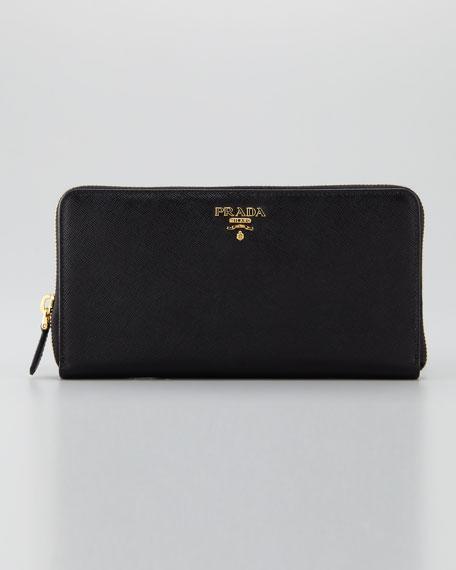 Saffiano Large Zip-Around Wallet, Nero