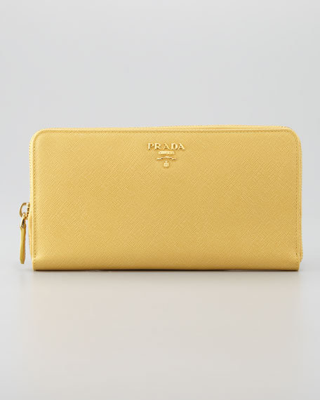 Saffiano Large Zip-Around Wallet, Ginestra