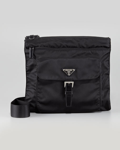 Vela Nylon Messenger Bag, Black