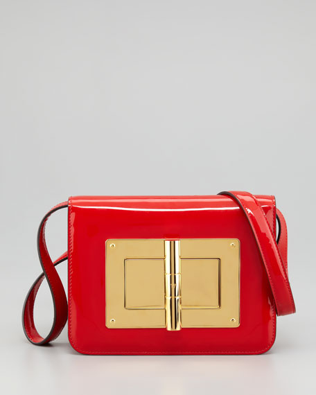 Natalia Medium Coral Red Patent Shoulder Bag