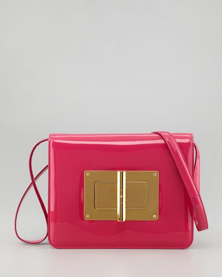 Natalia Large Turn-Lock Shoulder Bag, Hot Pink