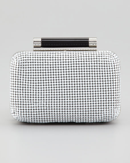 Tonda Small Chain Mail Clutch Bag, White