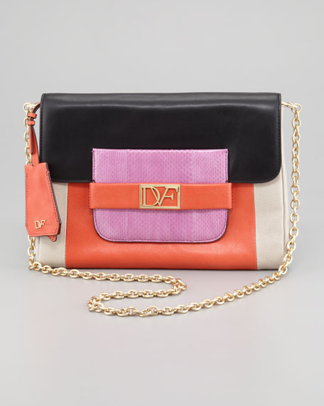 Mimosa Snake-Detailed Colorblock Clutch Bag