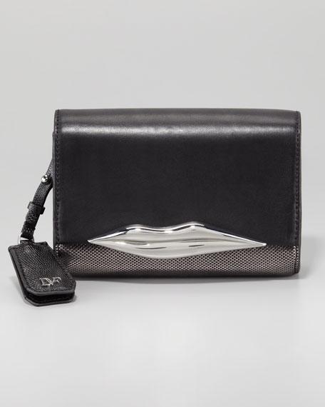 Lips Mini Metallic Clutch, Black/Silver