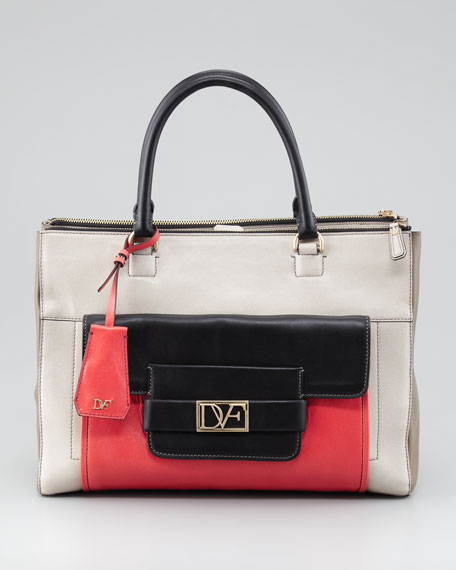 Eva Colorblock Tote Bag, Sand/Black/Coral