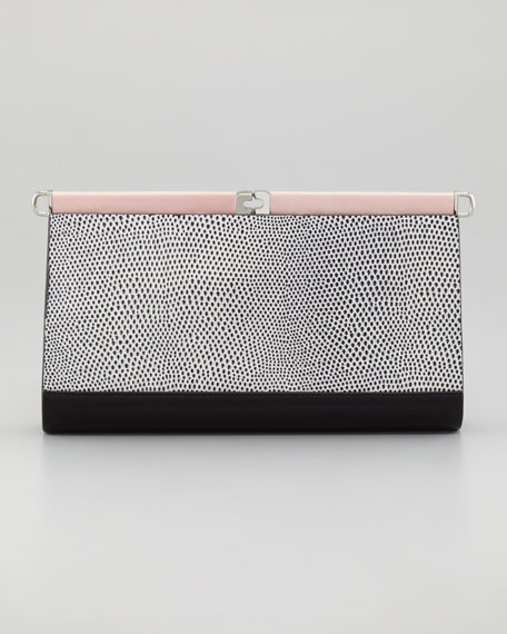 Olivia Lizard-Print Colorblock Clutch Bag
