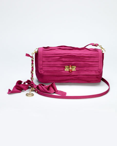 Happy Small Plisse Shoulder Bag, Fuchsia