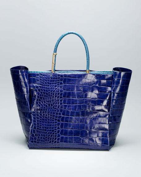 Moon River Crocodile-Embossed Tote Bag
