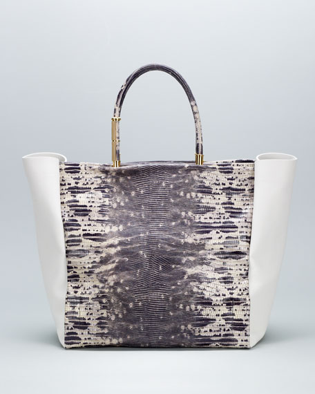 Moon River Snake-Embossed Tote Bag