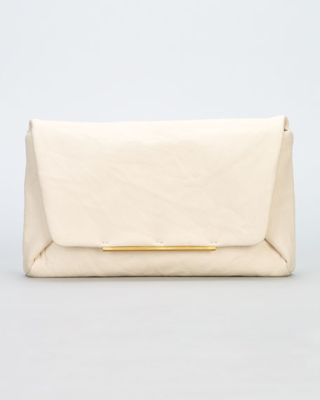 Mai Tai Crinkled Lambskin Clutch Bag, Shell