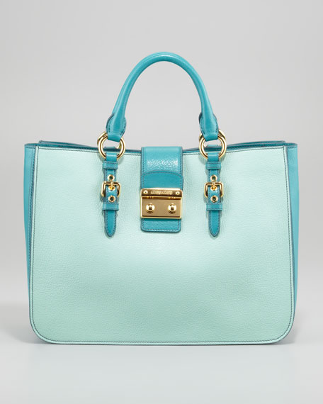 Madras Bicolor Satchel Bag, Aquamarina/Pavon