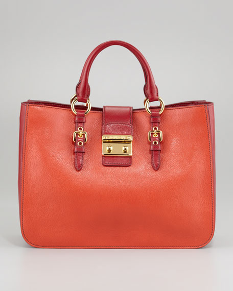 Madras Bicolor Satchel Bag, Mandarino/Rubino