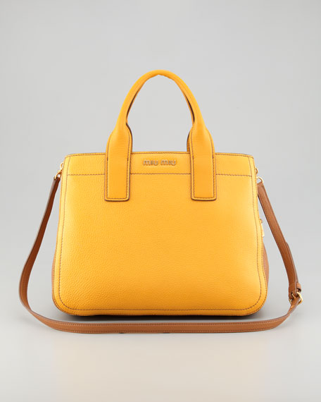Vitello Leather Satchel Bag, Mimosa/Caramel
