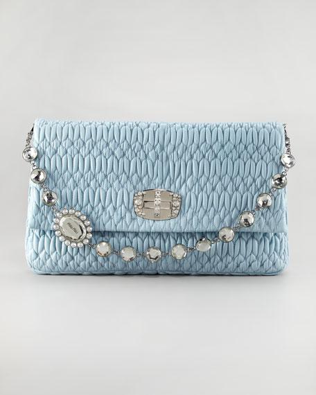 a30a572ed3e Miu Miu Ruched Napa Leather Crystal Large Bag