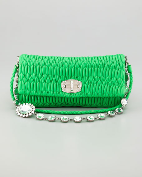 Ruched Napa Leather Crystal Bag, Green