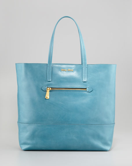 Vitello Leather Tote, Blue