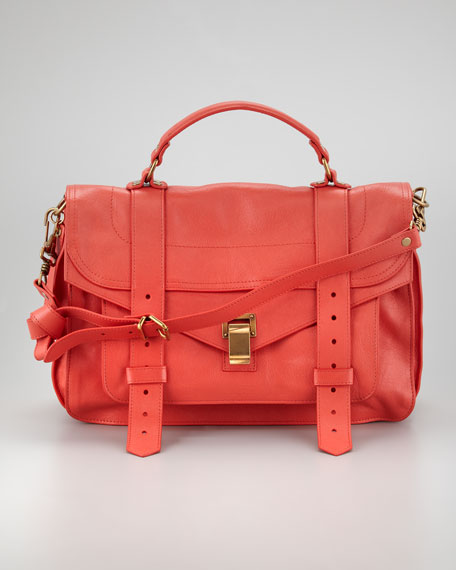 PS1 Medium Satchel Bag, Deep Coral