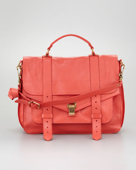 PS1 Large Satchel Bag, Deep Coral