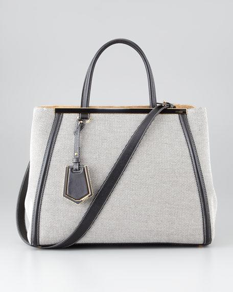 2Jours Medium Canvas Tote Bag, Black/White