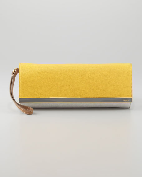 Rush Colorblock Clutch Bag, Yellow/Gray