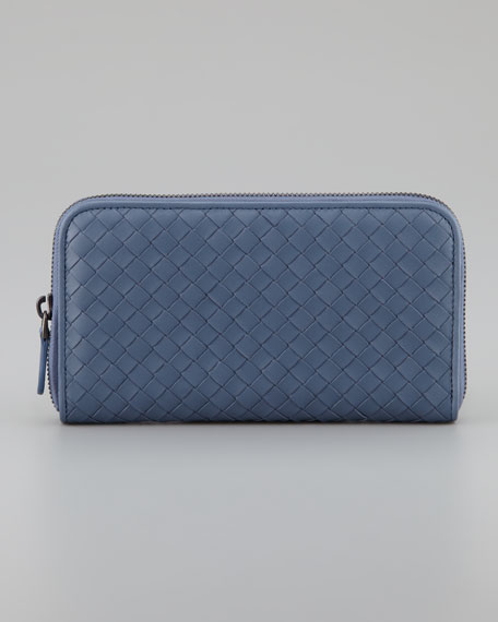 Woven Leather Continental Wallet, Blue