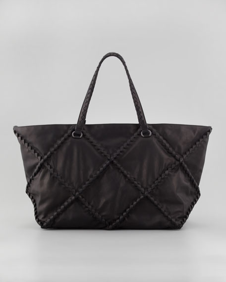 Intrecciato Woven Stitched East-West Tote Bag, Black