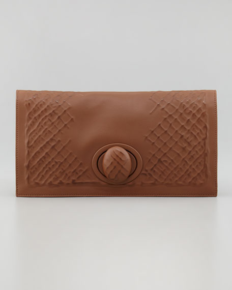 Ricamo Rete Fold-Over Clutch, Brown