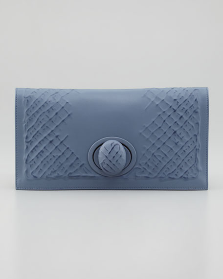 Ricamo Rete Fold-Over Clutch, Blue