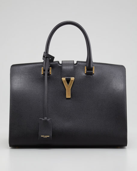 Y Ligne Medium Textured Bag, Black