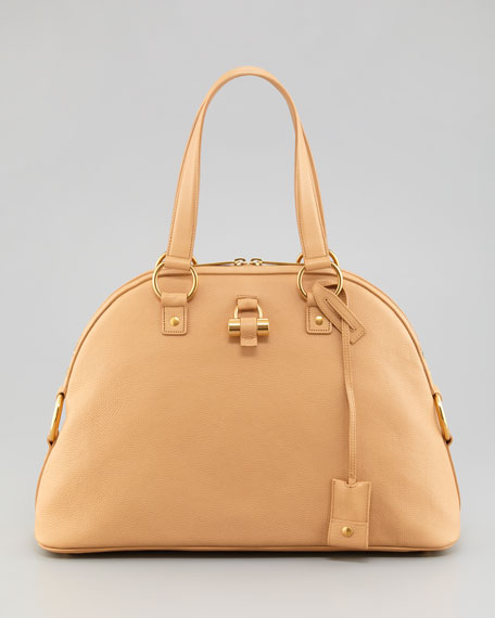 Muse Medium Calfskin Dome Bag, Natural