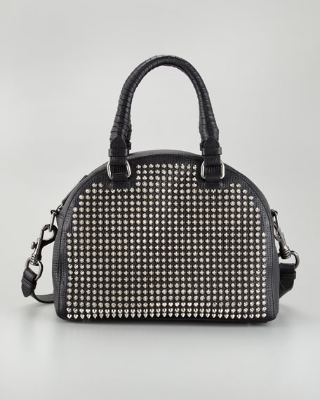 Panettone Small Studded Satchel Bag, Black/Silver